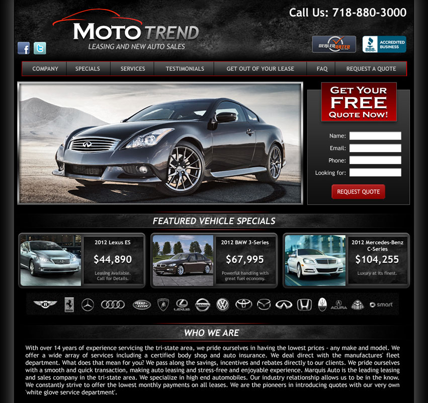 automotive website mockup for mototrend. Black Bedroom Furniture Sets. Home Design Ideas